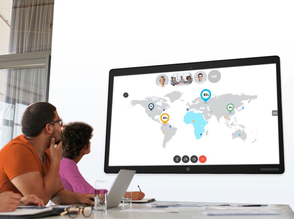 Collaboration Board in einem Besprechungsraum im Einsatz